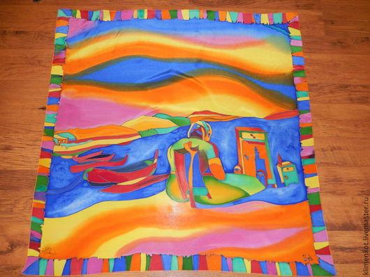 Шали, палантины ручной работы. Ярмарка Мастеров - ручная работа. Купить платок батик - У моря...(С.Дали). Handmade.