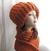 handmade. Livemaster - original item Hat and scarf Orange made of thick yarn. Handmade.
