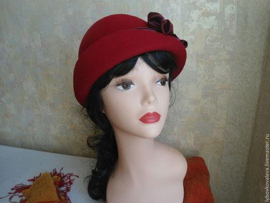 """Шляпы ручной работы. Ярмарка Мастеров - ручная работа. Купить Шляпа из фетра """"Красная"""". Handmade. Ярко-красный, весна"""