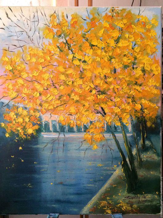 """Пейзаж ручной работы. Ярмарка Мастеров - ручная работа. Купить ПРОДАНА Картина """"Чистые пруды"""". Handmade. Осень, картина в подарок"""