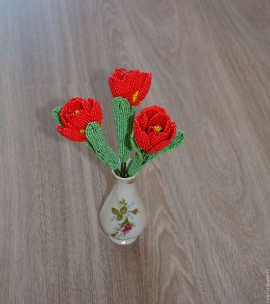 Букеты ручной работы. Ярмарка Мастеров - ручная работа. Купить Букет Тюльпанов из бисера. Handmade. Букет из бисера, интерьерное украшение