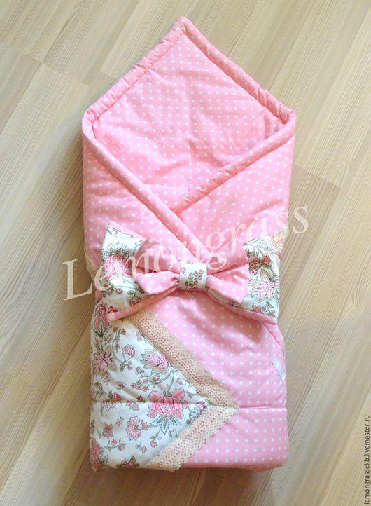 Для новорожденных, ручной работы. Ярмарка Мастеров - ручная работа. Купить Одеяло на выписку Lemongrass. Handmade. Бледно-розовый