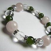 Украшения handmade. Livemaster - original item Bracelet jade, rose quartz, crystal