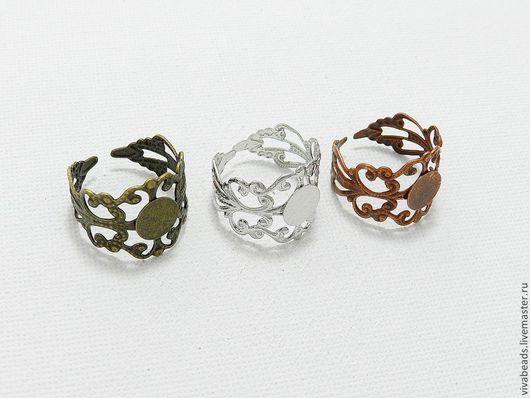 Основа для кольца ажурная, цвет Серебро и Медь, Бронза, материал латунь, кольцо разъемное, подойдет практически под любой размер, диаметр  около 17 мм, площадка 8 мм (арт. 1270)