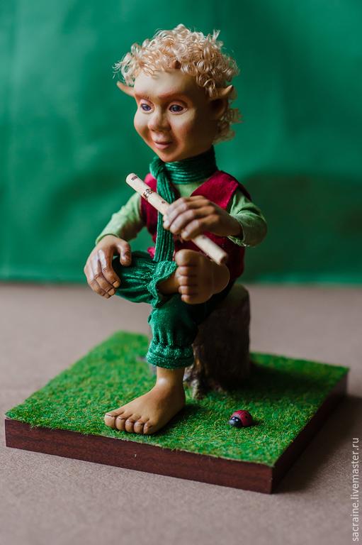Сказочные персонажи ручной работы. Ярмарка Мастеров - ручная работа. Купить Фавн Джонни с флейтой. Handmade. Зеленый, флейта, хлопок