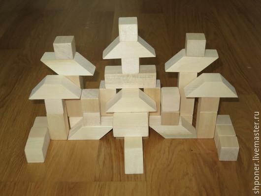 Развивающие игрушки ручной работы. Ярмарка Мастеров - ручная работа. Купить Строительный набор большой. Handmade. Белый, деревянные игрушки