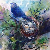 Картины и панно ручной работы. Ярмарка Мастеров - ручная работа Акварель Гнездо Синей Птицы. Handmade.