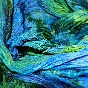 Аксессуары handmade. Livemaster - original item Scarves: Bright Blue green scarf women`s silk crinkled stole. Handmade.