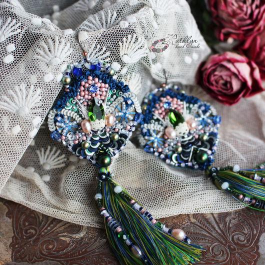 """Серьги ручной работы. Ярмарка Мастеров - ручная работа. Купить Серьги с кистями """"Исида"""" : вышивка бисером, пайетки, кружево, шелк. Handmade."""