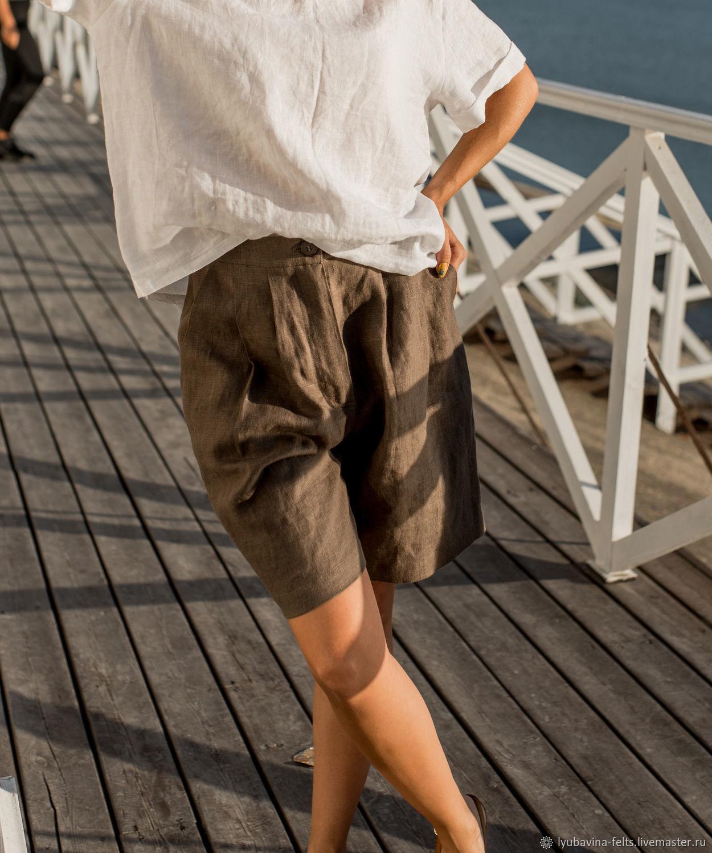 Шорты из льна светло- коричневые с карманами размер S-M, Шорты, Новороссийск,  Фото №1