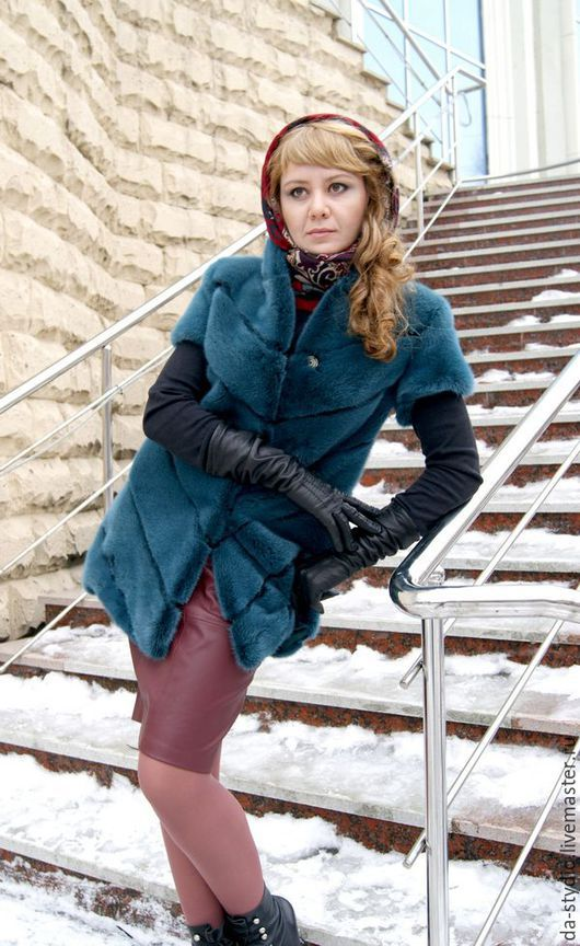 Author`s clothes by Dmitriy PEHTASHEV_Studio: Жилет из норки изумрудного цвета (Артикул 24-02-16)