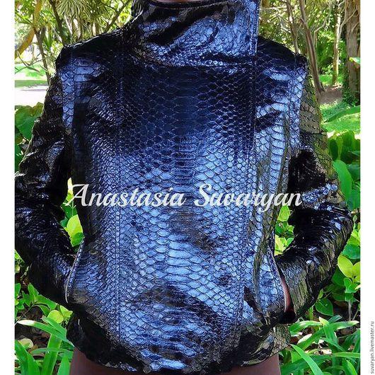 Верхняя одежда ручной работы. Ярмарка Мастеров - ручная работа. Купить куртка -жилет женский из натуральной кожи питона. Handmade.