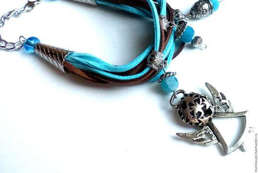 Браслеты ручной работы. Ярмарка Мастеров - ручная работа. Купить Браслет из шнуров Ангел голубой коричневый. Handmade. Голубой
