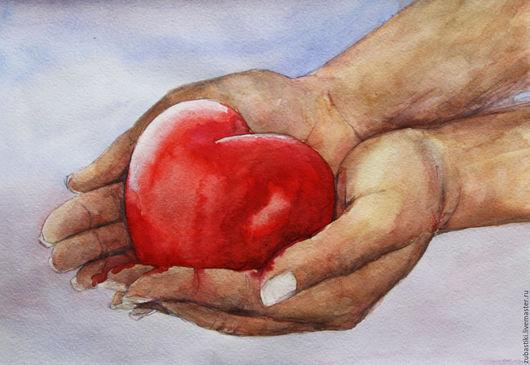 Символизм ручной работы. Ярмарка Мастеров - ручная работа. Купить Сердце в твоих руках.... Handmade. Ярко-красный, акварельная живопись