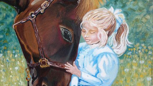 """Люди, ручной работы. Ярмарка Мастеров - ручная работа. Купить Картина маслом """"Лошадь и девочка"""". картина девочка. картина лошадь. Handmade."""