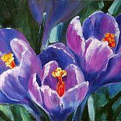 """Картины и панно ручной работы. Ярмарка Мастеров - ручная работа Картина маслом """"Фиолетовые крокусы"""". Handmade."""