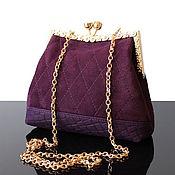 Клатчи ручной работы. Ярмарка Мастеров - ручная работа Вечерняя сумочка, замшевая сливовая сумка-клатч. Handmade.