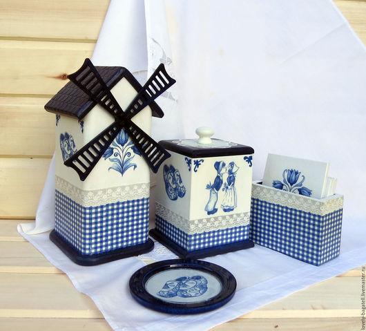 """Кухня ручной работы. Ярмарка Мастеров - ручная работа. Купить Набор для чаепития Маленькая Голландия"""". Handmade. Тёмно-синий, декупад"""