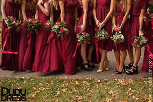 Одежда и аксессуары ручной работы. Ярмарка Мастеров - ручная работа. Купить Платья для подружек невесты бордо марсала. Handmade. Бордовый