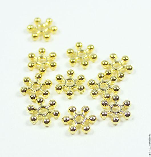 Для украшений ручной работы. Ярмарка Мастеров - ручная работа. Купить Рондели (спейсеры), 9х2,5 мм, цвет золото, разделители. Handmade.