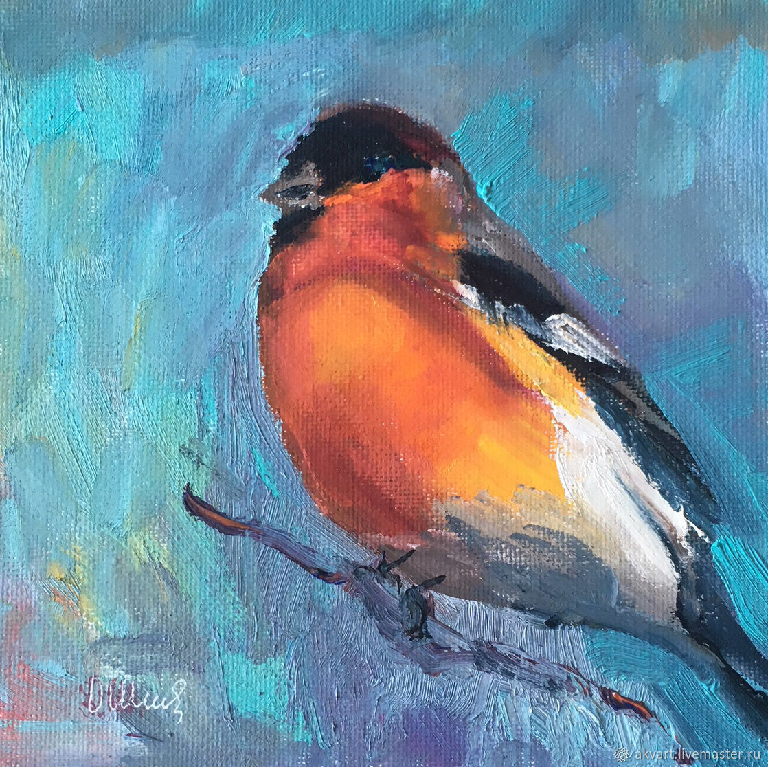 Oil painting birds bullfinch shop online on livemaster for Selling oil paintings online