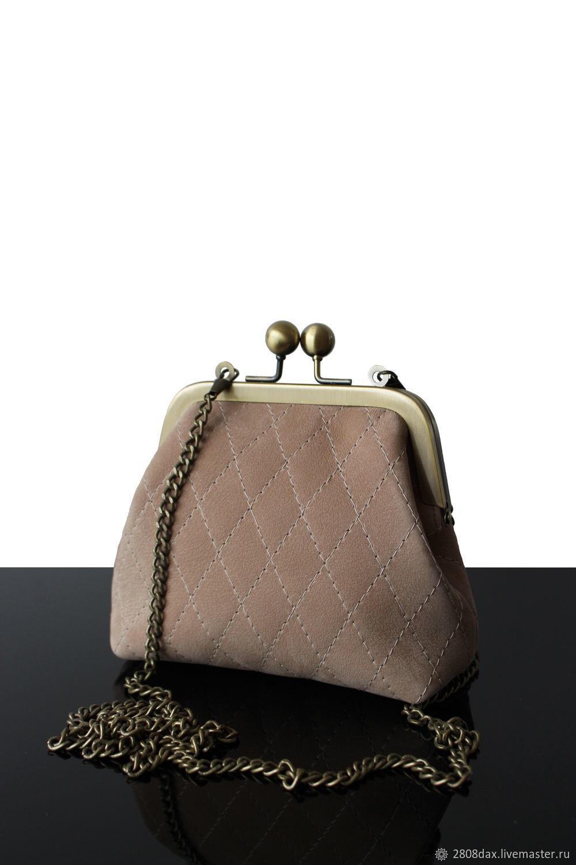 Bag with clasp: Retro Beige Suede Purse Bag, Clasp Bag, Bordeaux,  Фото №1