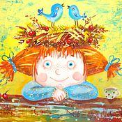 Картины и панно ручной работы. Ярмарка Мастеров - ручная работа Рыжее счастье ( батик панно). Handmade.