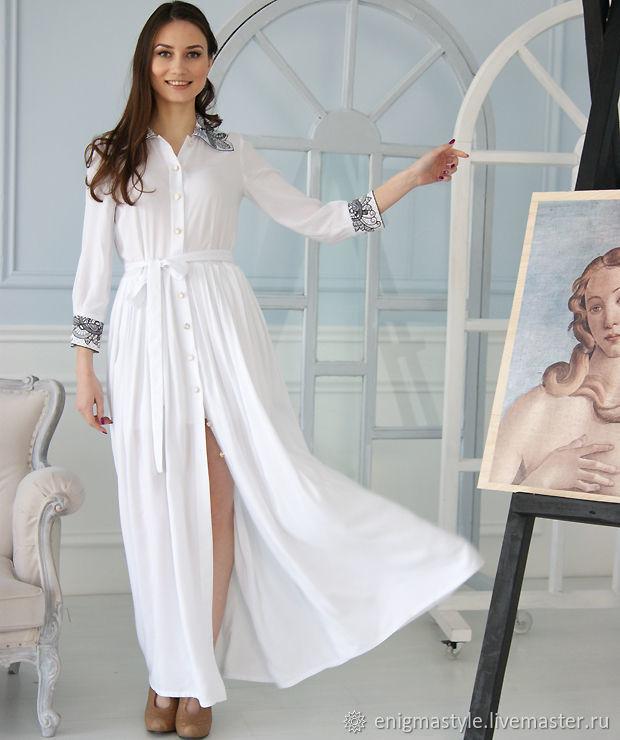 Белое платье длинное, вечернее платье в пол с разрезом, платье-рубашка, Платья, Новосибирск,  Фото №1