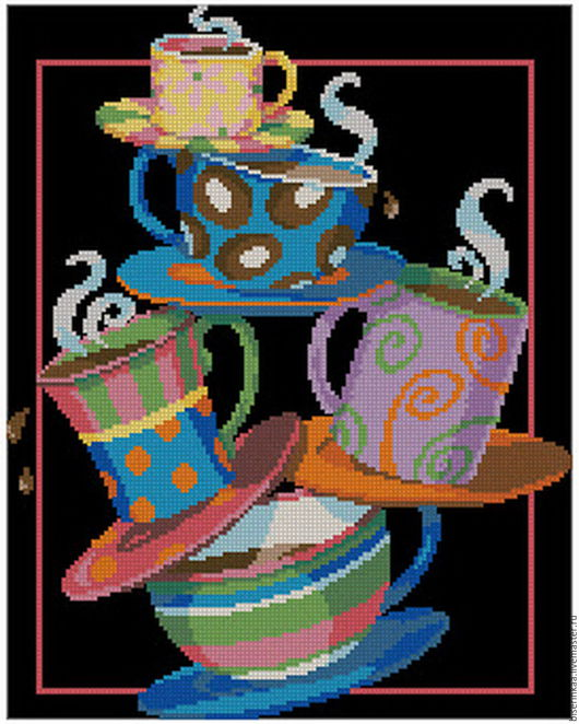 """Вышивка ручной работы. Ярмарка Мастеров - ручная работа. Купить Схема для вышивки чешским бисером """"Чайная церемония"""""""". Handmade."""