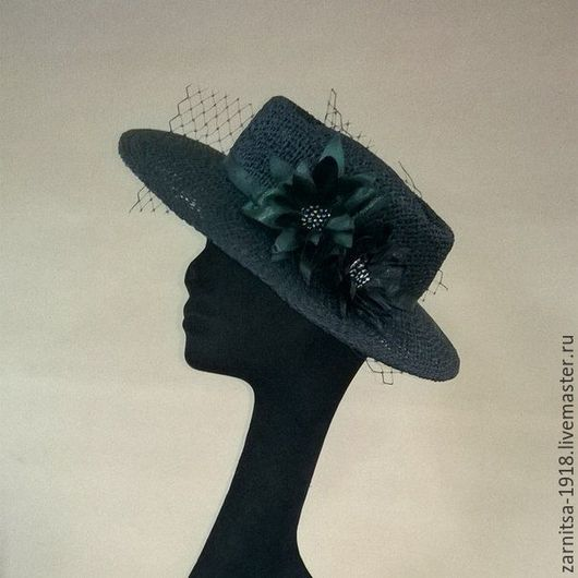 Шапки ручной работы. Ярмарка Мастеров - ручная работа. Купить Соломенная шляпка - канотье. Handmade. Однотонный, соломенная шляпа, шляпа