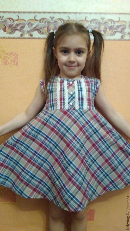 Одежда для девочек, ручной работы. Ярмарка Мастеров - ручная работа. Купить Платье в клетку красную. Handmade. В клеточку, платье