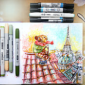 Картины и панно handmade. Livemaster - original item Cappuccinos in the morning - painting on paper. Handmade.