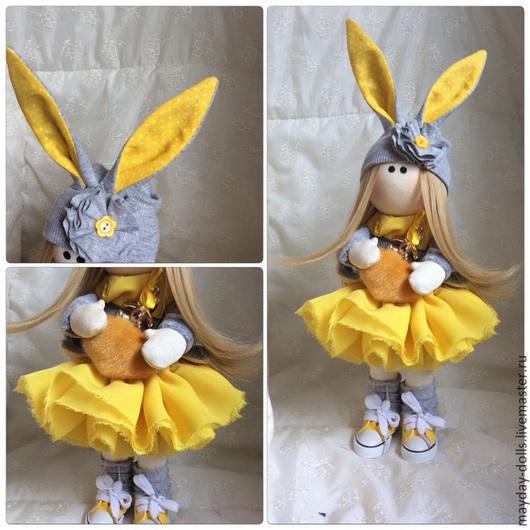 Куклы тыквоголовки ручной работы. Ярмарка Мастеров - ручная работа. Купить Интерьерная текстильная кукла большеножка Солнечная зая. Handmade.