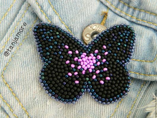 Броши ручной работы. Ярмарка Мастеров - ручная работа. Купить Черная Бабочка. Handmade. Черный, бабочка, брошь, бабочка из бисера