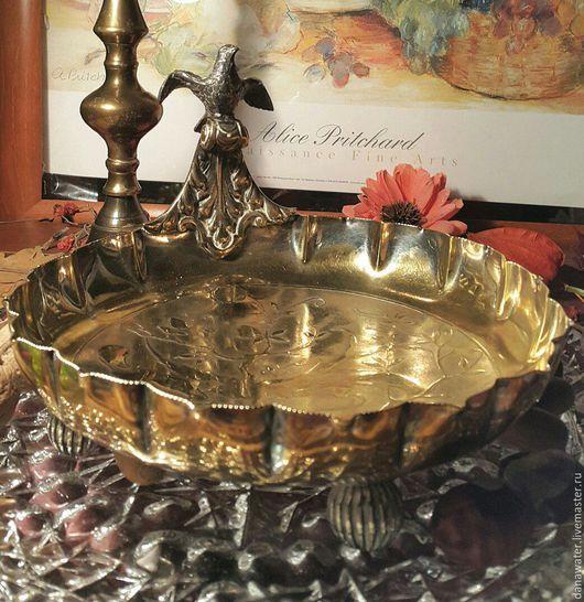 Винтажная посуда. Ярмарка Мастеров - ручная работа. Купить Антикварная ваза для фруктов,19 век, серебрение, позолота, птица. Handmade.
