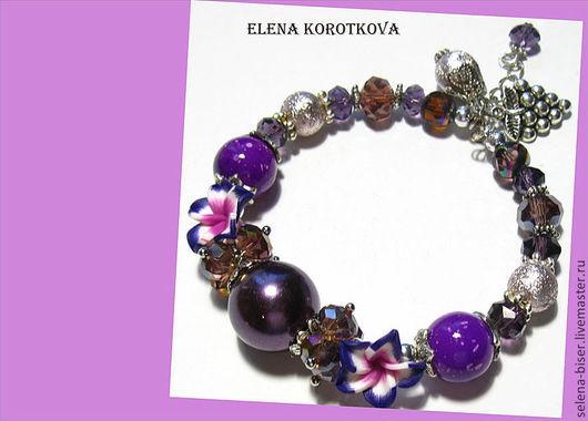 браслет на руку   браслет с подвесками  браслет купить  недорогой браслет  недорогое украшение  браслет недорого  безразмерный браслет  браслет фиолетовый купить  фиолетовый браслет