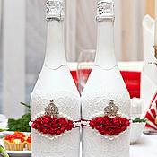 Свадебный салон ручной работы. Ярмарка Мастеров - ручная работа (арт. 0004) Оформление свадебного шампанского. Handmade.