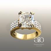 Украшения handmade. Livemaster - original item A gold ring with a Radiant moissanite and diamonds. Seven hundred fifty.. Handmade.