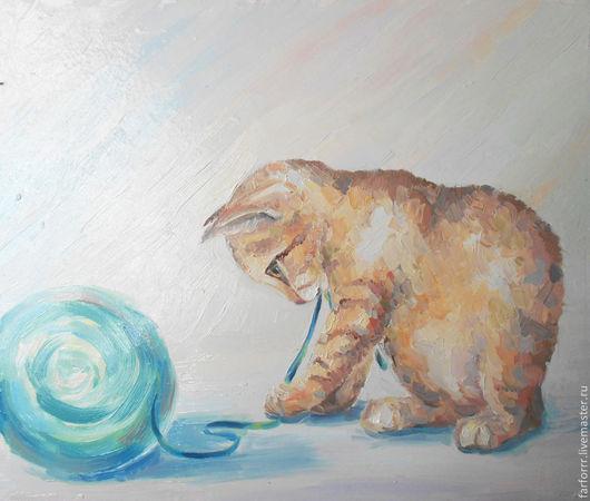 Животные ручной работы. Ярмарка Мастеров - ручная работа. Купить Картина. Котёнок и голубой клубок.. Handmade. Бежевый, кот и клубок