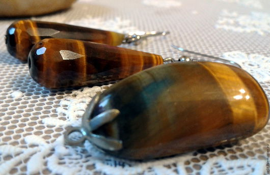 Комплекты украшений ручной работы. Ярмарка Мастеров - ручная работа. Купить Серьги и кулон с тигровым глазом. Handmade. Хаки