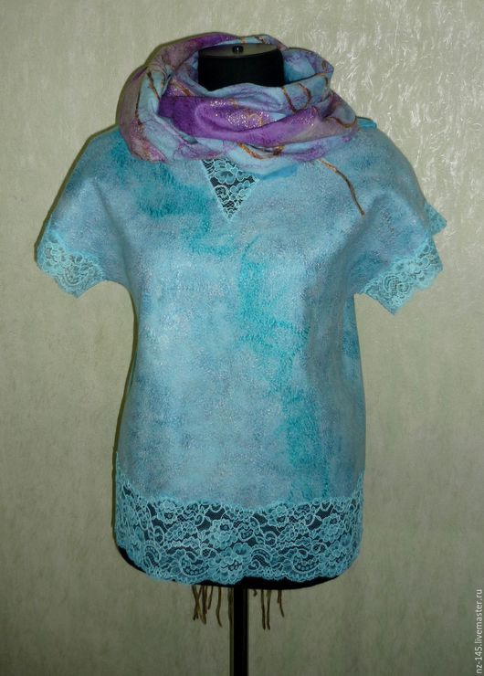 """Блузки ручной работы. Ярмарка Мастеров - ручная работа. Купить Блуза нуно-войлок """" Нежность"""". Handmade. Бирюзовый"""
