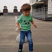 Работы для детей, handmade. Livemaster - original item T-shirt knitted cotton Tanuki collection. Handmade.