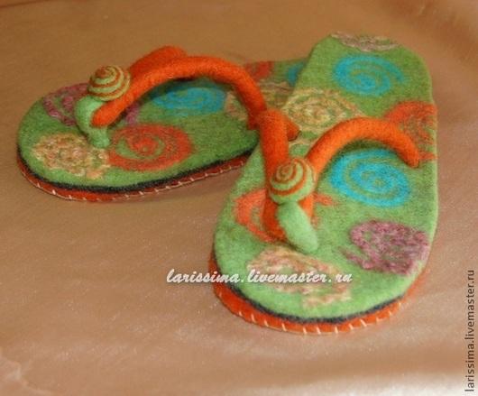 """Обувь ручной работы. Ярмарка Мастеров - ручная работа. Купить Сланцы домашние """"Миражи"""". Handmade. Зеленый, авторская ручная работа"""