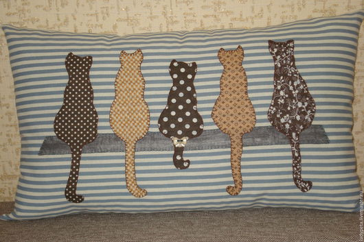 """Текстиль, ковры ручной работы. Ярмарка Мастеров - ручная работа. Купить Подушка """"Кошки.Ветер с моря дул..."""". Handmade."""
