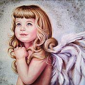 Картины и панно handmade. Livemaster - original item Oil painting with a girl angel My angel. Handmade.
