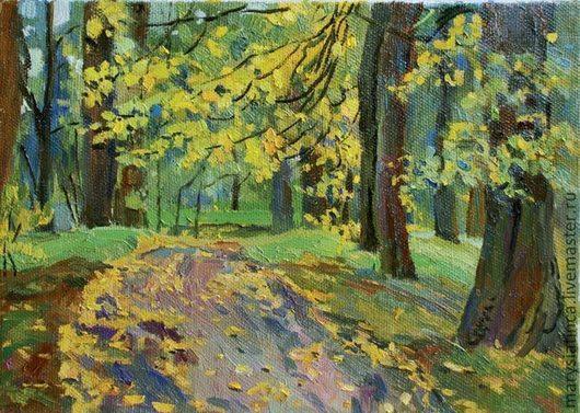 Пейзаж ручной работы. Ярмарка Мастеров - ручная работа. Купить Осенняя прогулка. Handmade. Осень, осениий пейзаж, липы, парк
