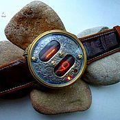 Ламповые, наручные стимпанк часы