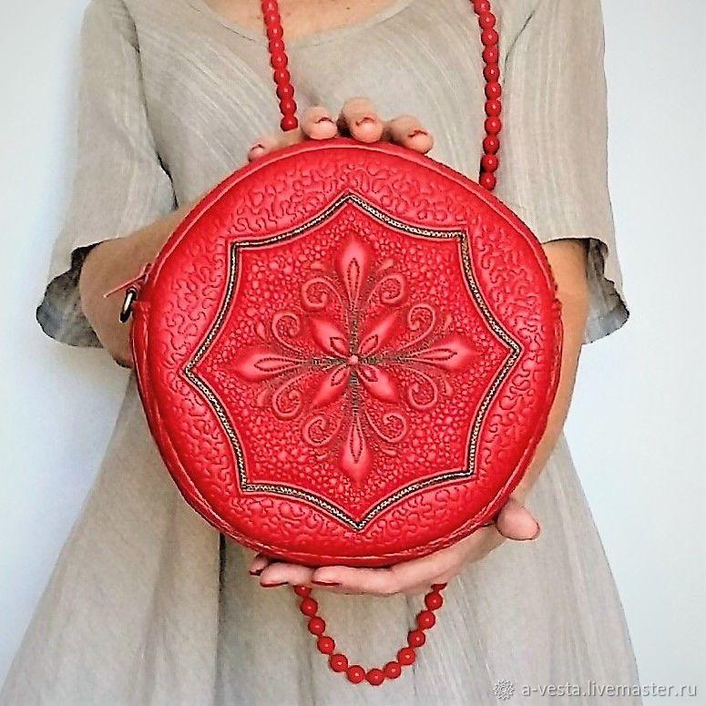 Bag wind rose round red, mandala, Crossbody bag, Saratov,  Фото №1