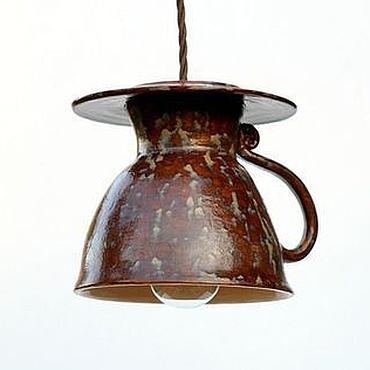 Для дома и интерьера ручной работы. Ярмарка Мастеров - ручная работа Светильник керамический люстра для кухни ручной работы Чайная Чашка. Handmade.