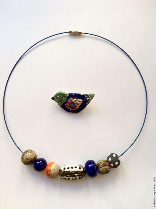 """Колье, бусы ручной работы. Ярмарка Мастеров - ручная работа. Купить Колье  """" Синяя птица"""". Handmade. Синий"""